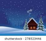 Winter Cabin With Christmas...