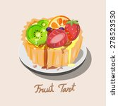 fresh fruit tart with kiwi ... | Shutterstock .eps vector #278523530