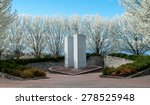 Small photo of 911 Memorial Overpeck Park, Leonia NJ. Springtime memorial for 9/11. Never forget, memorial. New York City, New Jersey monument. Park setting with cherry blossoms. Springtime in the outdoors.