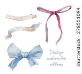 Watercolor Vintage Ribbons And...