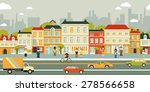 town city street panoramic... | Shutterstock .eps vector #278566658