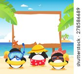 summer penguins with billboard | Shutterstock .eps vector #278586689