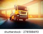 orange semi truck with oil... | Shutterstock . vector #278588693