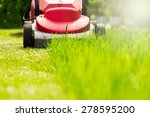 Summer and spring season sunny lawn mowing in the garden. - stock photo