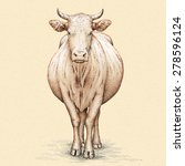 Color Engrave Isolated Cow...