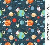 seamless children cartoon space ... | Shutterstock .eps vector #278602238