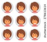 set round avatars with fun girl.... | Shutterstock .eps vector #278613614