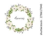 floral watercolor wreath of... | Shutterstock . vector #278617040