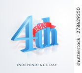 3d glossy text 4th of july with ... | Shutterstock .eps vector #278629250