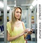 smiling girl with smartphone in ... | Shutterstock . vector #278653559
