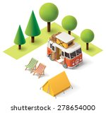 Isometric Camper Van In The...