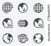 earth vector icons set | Shutterstock .eps vector #278668490