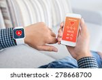 male hands holding touch phone... | Shutterstock . vector #278668700