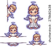 Vector Set Of Cute Angel With...