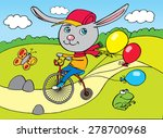 rabbit on city bicycle  drawing ...   Shutterstock . vector #278700968