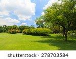 green trees in beautiful park | Shutterstock . vector #278703584