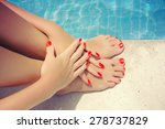 care for beautiful woman legs | Shutterstock . vector #278737829
