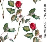 Red Rose Button  Watercolor ...