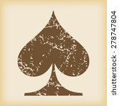 grungy brown icon with spades...