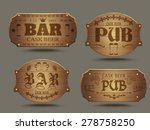 pub wooden old fashioned signs... | Shutterstock .eps vector #278758250