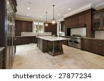Stock photo wood cabinet kitchen in luxury home 27877234