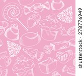vector cute candy seamless... | Shutterstock .eps vector #278776949