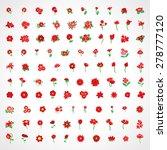 flower icons set   isolated on...