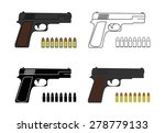 9mm pistols set with bullets....