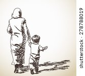 sketch of walking woman and boy ... | Shutterstock .eps vector #278788019