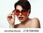 beautiful woman with short hair ... | Shutterstock . vector #278788988