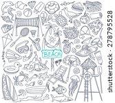 beach theme doodle set. various ... | Shutterstock .eps vector #278795528