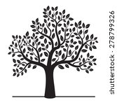 black vector tree with leafs.  | Shutterstock .eps vector #278799326