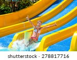 happy child girl in bikini... | Shutterstock . vector #278817716