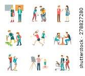 set 9 of art museum gardening... | Shutterstock .eps vector #278827280