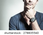 man with watch thinking.  | Shutterstock . vector #278835560