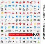 crime vector sticker icons with ... | Shutterstock .eps vector #278844968