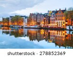 night city view of amsterdam ... | Shutterstock . vector #278852369