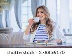 beautiful young girl in outdoor ... | Shutterstock . vector #278856170