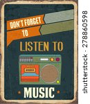 "retro metal sign ""listen music"" ... 