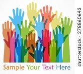 raised hands color  on white ... | Shutterstock .eps vector #278860643
