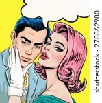 pop art couple conversation.... | Shutterstock . vector #278862980