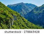 Small photo of Beautiful view of a high afforested mountains