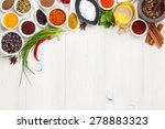various spices on white wooden... | Shutterstock . vector #278883323