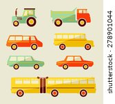 retro vector flat car icons set  | Shutterstock .eps vector #278901044