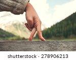 Walking Hand Gesture In Mountain