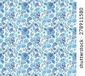 blue ethnic paisley ornament... | Shutterstock .eps vector #278911580