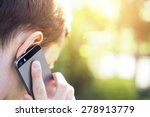 man talking on the phone close... | Shutterstock . vector #278913779