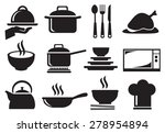 black and white vector icons of ... | Shutterstock .eps vector #278954894