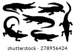 Crocodile Silhouettes On The...