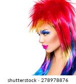 beauty fashion punk model girl... | Shutterstock . vector #278978876